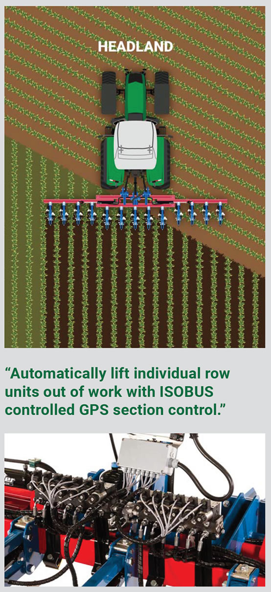 Illustration showing how the inter-row cultivator adjusts to crop direction