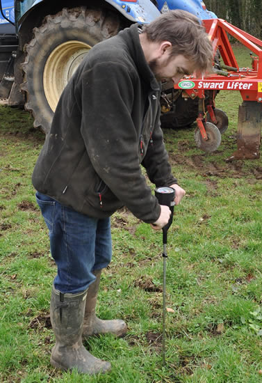 James Arkell tests ground for compaction with a penetrometer