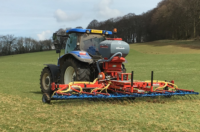 Overseeding has been carried out using an OPICO tine harrow and seeder